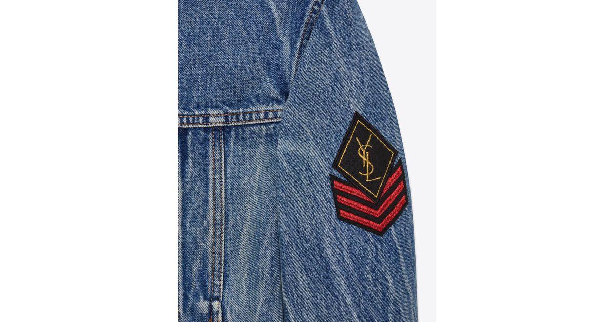 ca0cec38 Saint Laurent Original Ysl Military Patch Jean Jacket In Washed Blue Shadow  Denim for men
