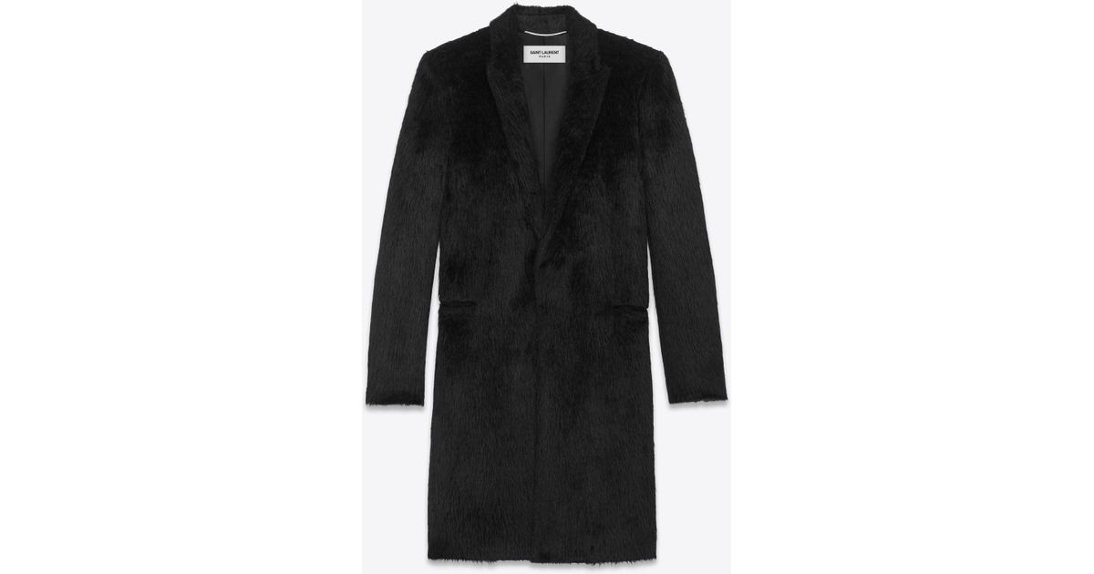 2c43d5dcc6d Saint Laurent Alluré Faux Fur Coat in Black for Men - Lyst