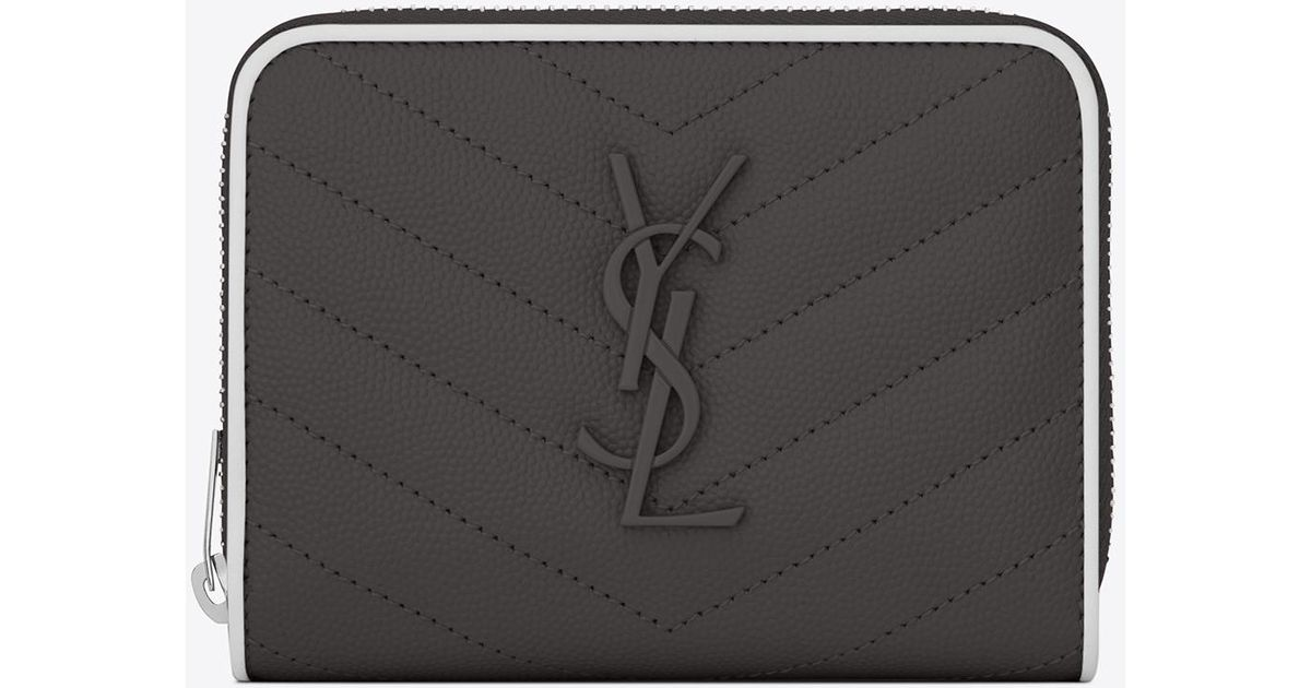 1b826fd706 Saint Laurent Compact Zip Around Wallet In Asphalt Gray And White Textured  Quilted Leather