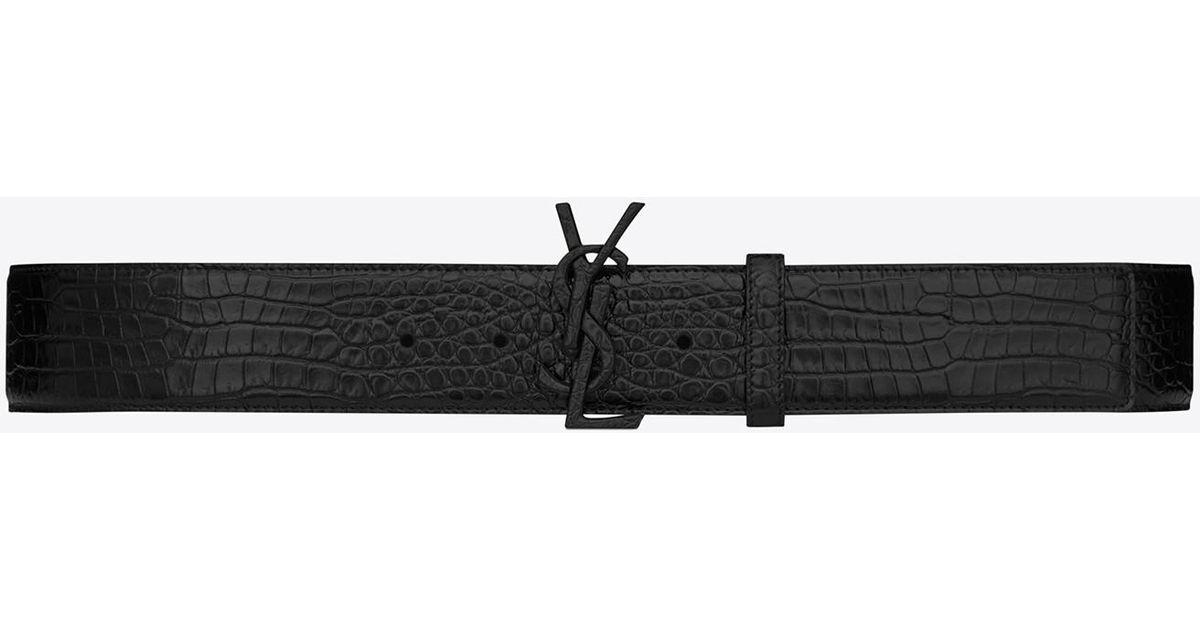 b9b9b216c5 Saint Laurent Monogram Buckle Belt In Black Crocodile Embossed Leather And  Black Matte Enamel for men