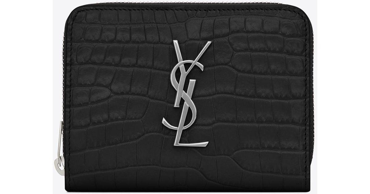 ab03179ae6 Saint Laurent Black Monogram Compact Zip Around Wallet In Crocodile  Embossed Shiny Leather