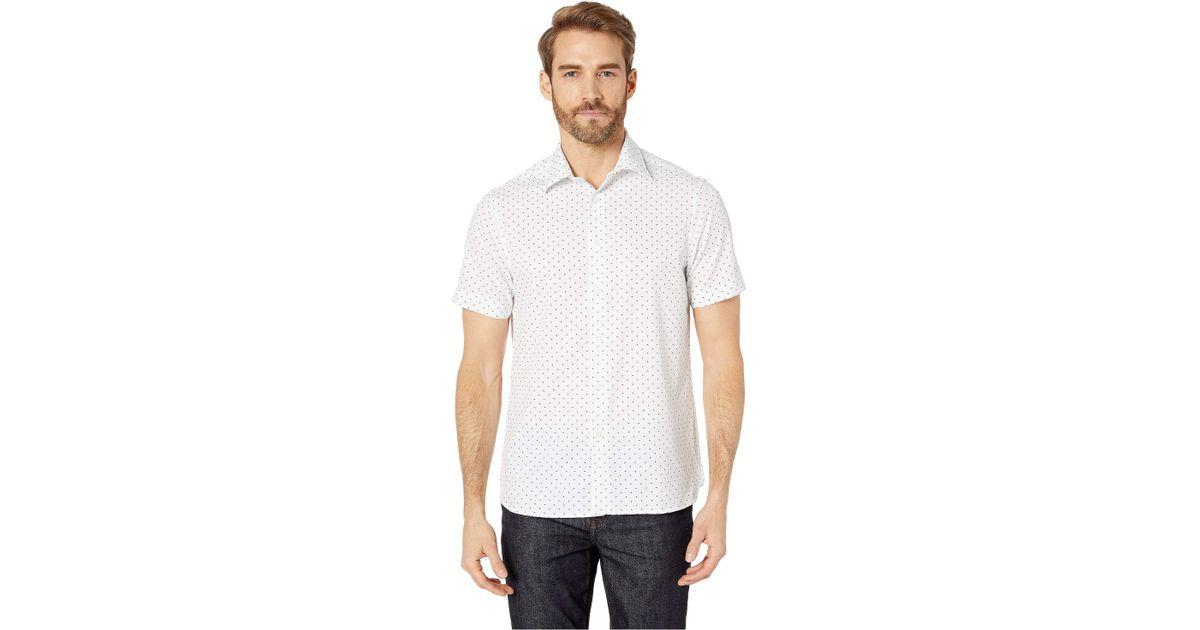 Perry Ellis Mens Slim Fit Total Stretch Micro Motif Shirt/