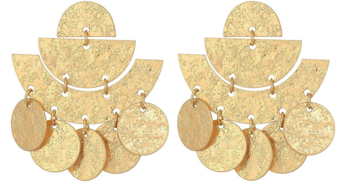 Lyst Kenneth Jay Lane Hammered Gold Multi Shape 1 5 Drop Post Earrings In Metallic