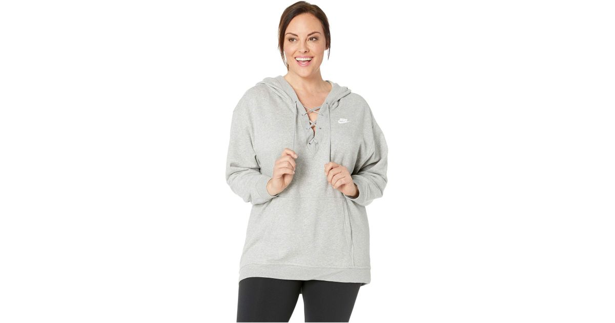 Lyst - Nike Plus Size Nsw Club Hoodie Lace-up in Gray 401dac582