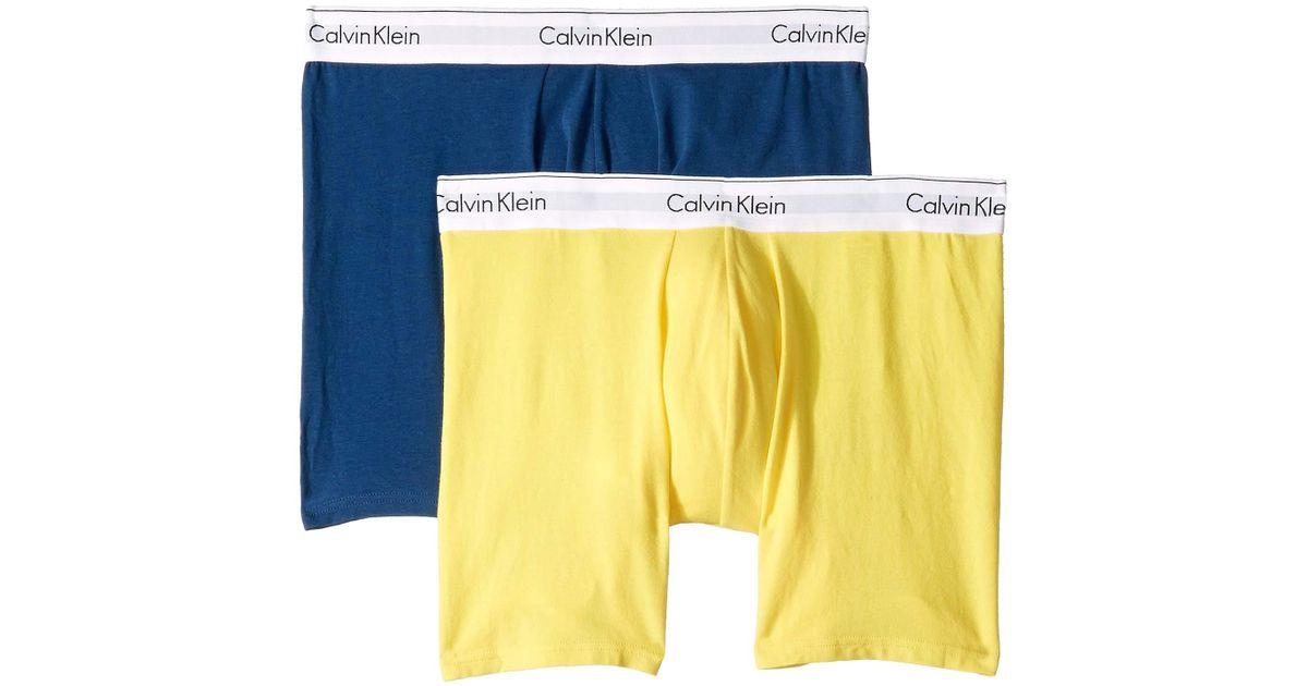 8011dd966828 Lyst - Calvin Klein Modern Cotton Stretch Boxer Brief (airforce/lemon Zest)  Men's Underwear in Blue for Men