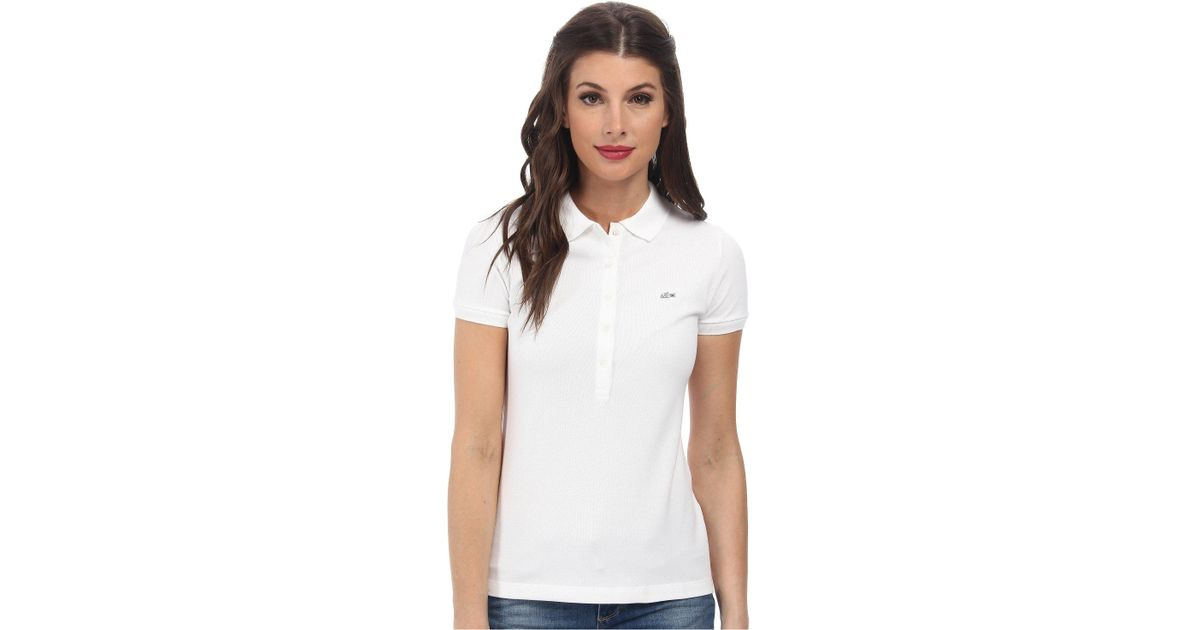 c504a4b12663 Lyst - Lacoste Slim Fit Stretch Mini Cotton Piqué Polo Shirt in White -  Save 21%