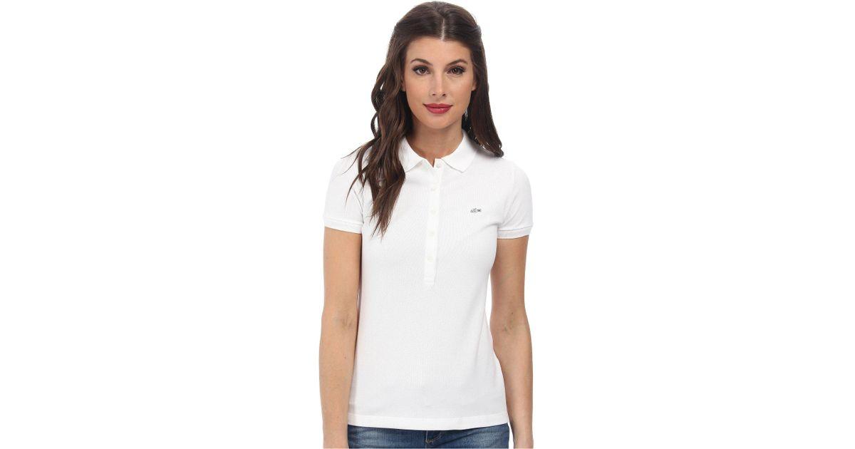 c504a4b12663 Lyst - Lacoste Slim Fit Stretch Mini Cotton Piqué Polo Shirt in White -  Save 21%