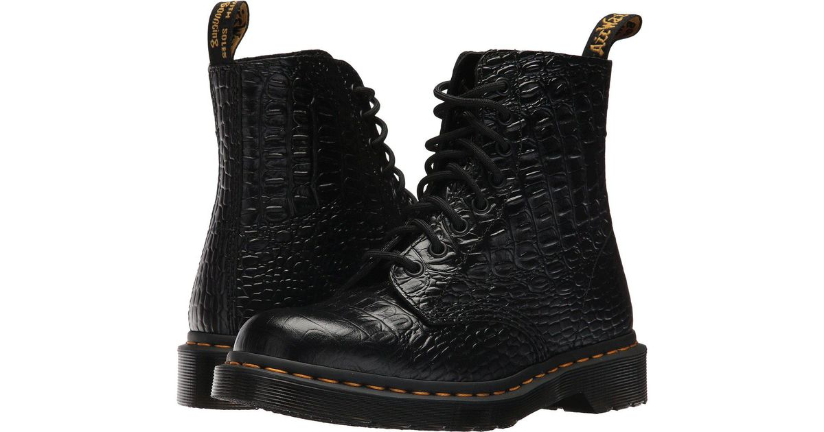 6c8bb7872801ce Lyst - Dr. Martens Pascal Croco 8-eye Boot in Black