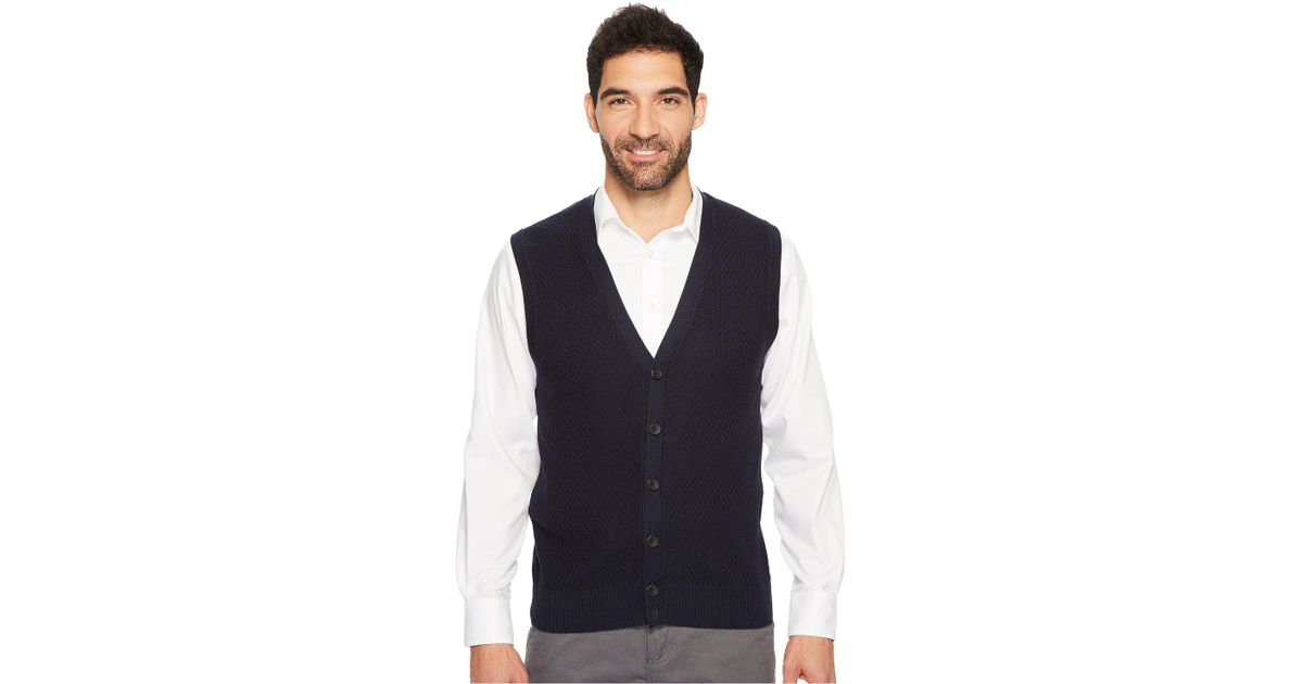 f12877727a Lyst - Perry Ellis Solid Textured Button Front Sweater Vest in Blue for Men