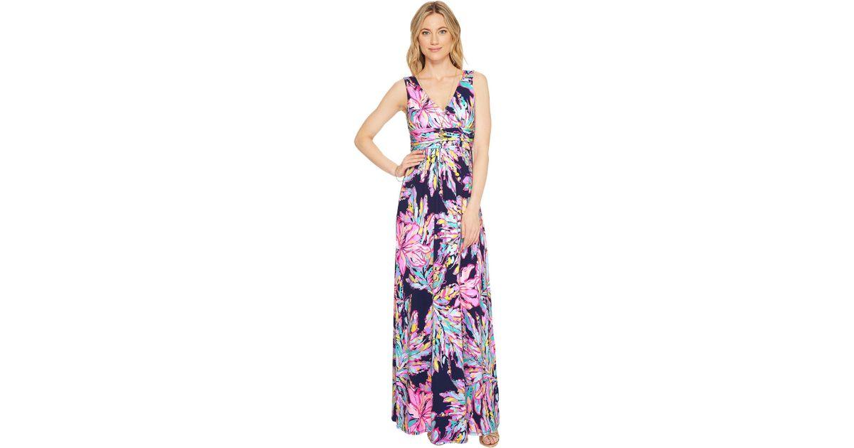 Lyst Lilly Pulitzer Sloane Maxi Dress Bright Navy Al Fresco