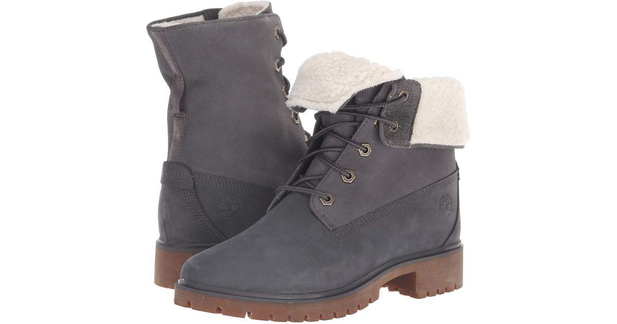 75ab2805443 Lyst - Timberland Jayne Waterproof Teddy Fleece Fold Down (dark Grey  Nubuck) Women s Lace-up Boots in Gray