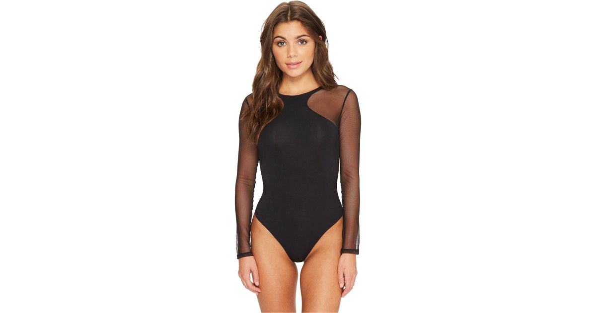 Lyst - Felina Kirsten Modal Bodysuit With Stretch Tulle Thong Back in Black 7eabe845c