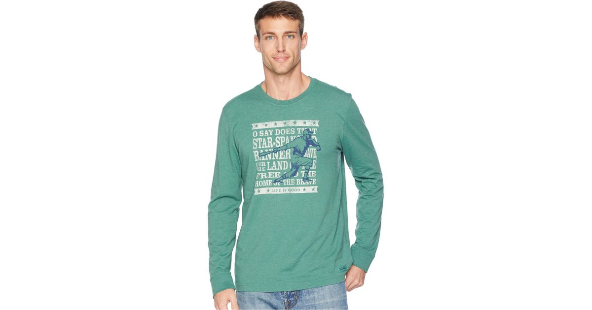 a953ce660e0 Lyst - Life Is Good. Brave Baseball Crusher Long Sleeve T-shirt in Green  for Men - Save 44%