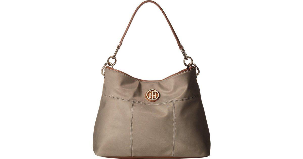 Lyst Tommy Hilfiger The Signature Smooth Nylon Small Hobo Khaki Handbags