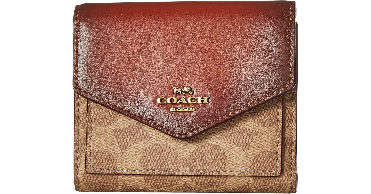 d4084ac4 COACH Brown Small Wallet In Color Block Coated Canvas Signature