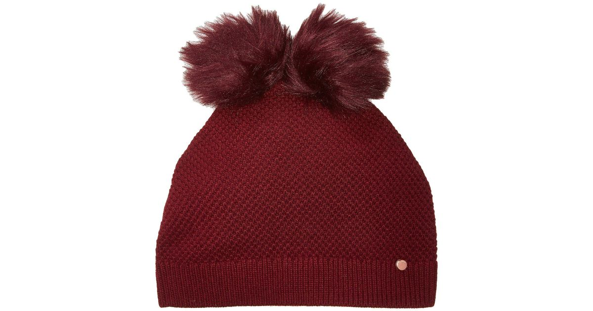 707d96e5e8242 Lyst - Ted Baker Double Pom Pom Hat in Red