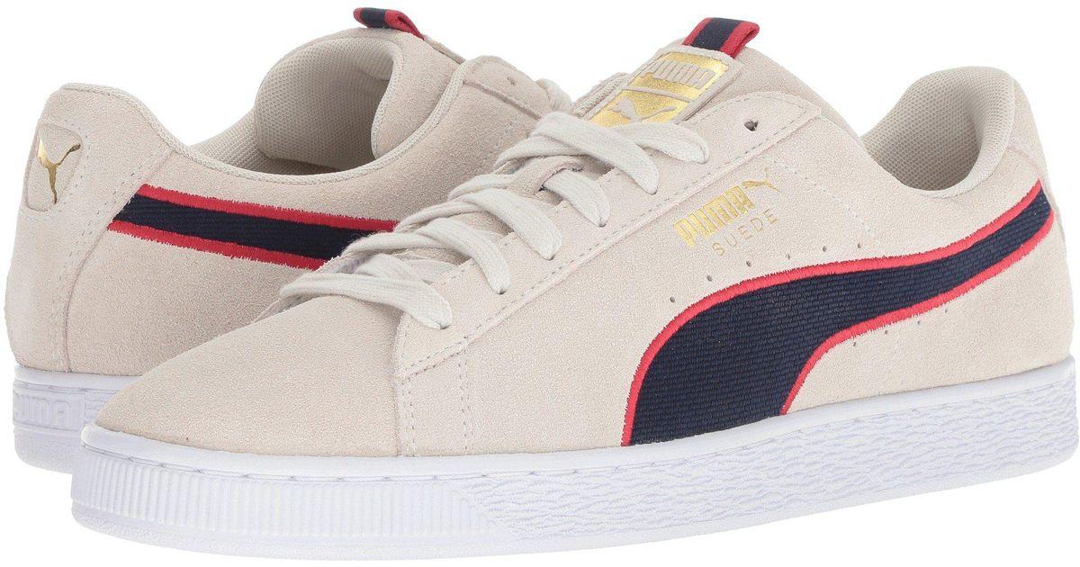PUMA Multicolor Suede Classic Sport Stripes (vaporous Grayiron Gatebuckthorn Brown) Men's Shoes for men