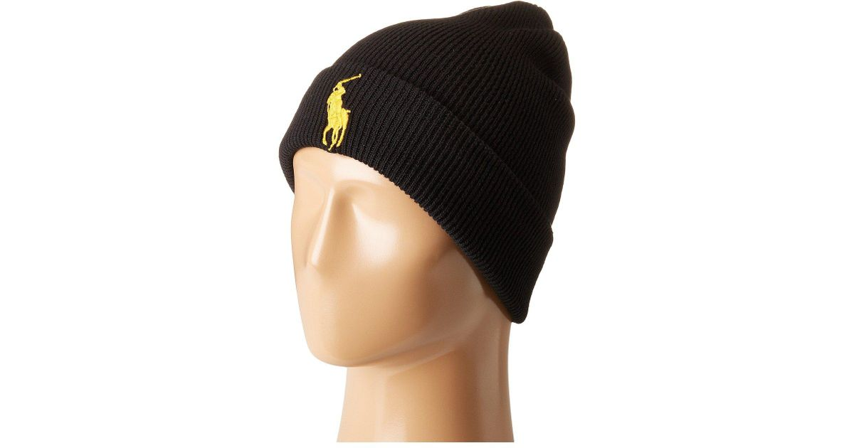 e8f72255 Polo Ralph Lauren Big Pony Cuff Hat (polo Black) Beanies for men