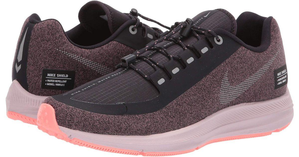 new concept 7a482 b9202 Nike Air Zoom Winflo 5 Run Shield (smokey Mauve/metallic Silver/oil Grey)  Women's Running Shoes