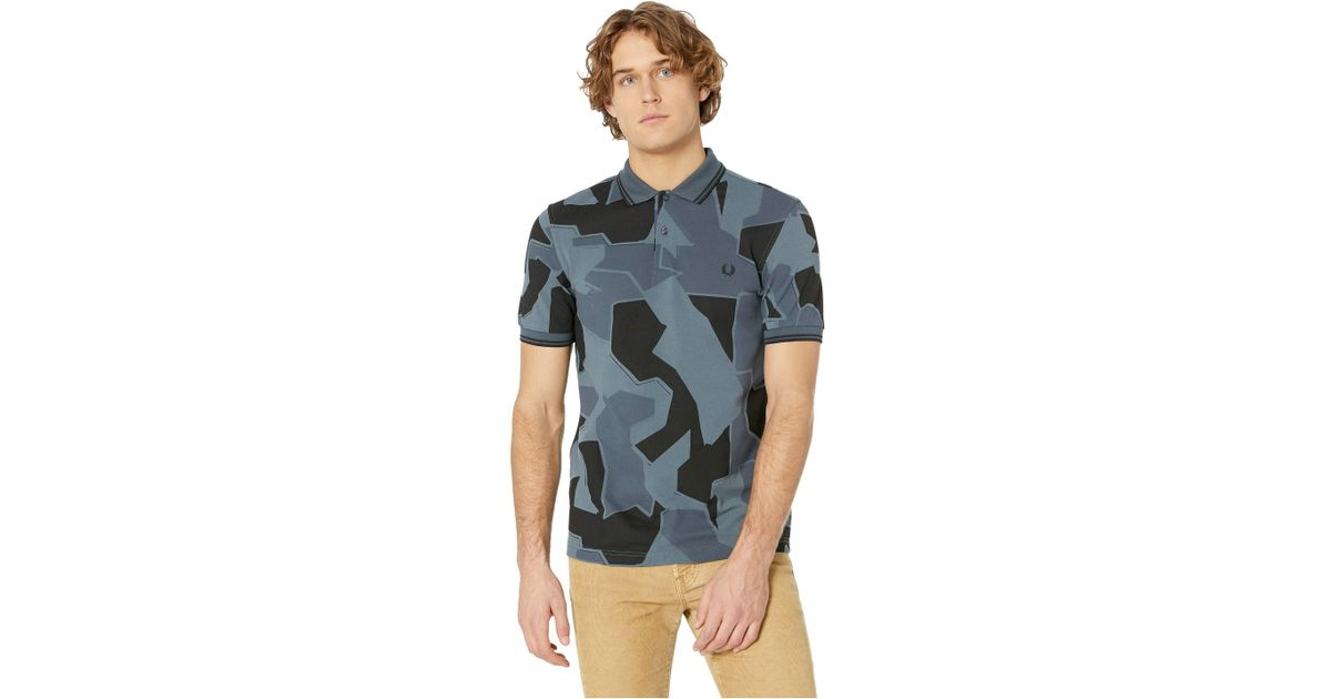 59a6332bc Fred Perry Camouflage Pique Shirt (airforce Camo) Men's Clothing for Men -  Lyst