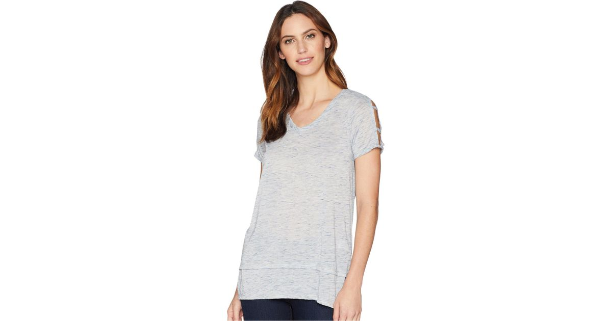 95d4b1d63 Lyst - Mod-o-doc Soft & Light Heather Jersey Cut Out Cold Shoulder Sleeve  V-neck Tee in Blue - Save 37%