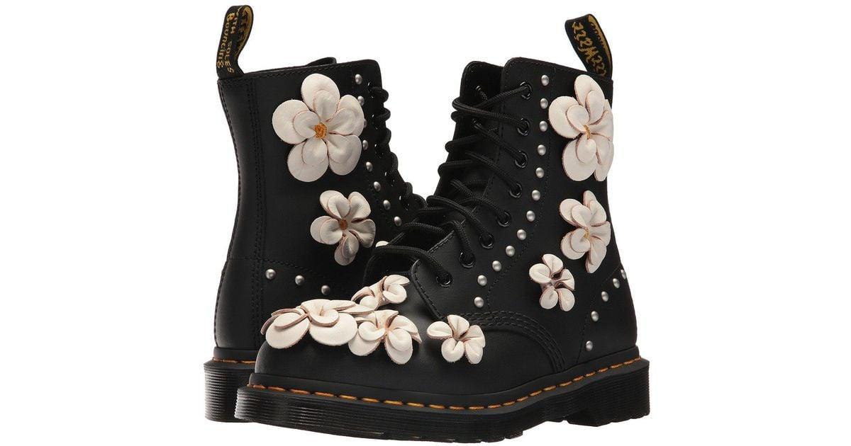 dr martens 3d flower lace up boots Dr