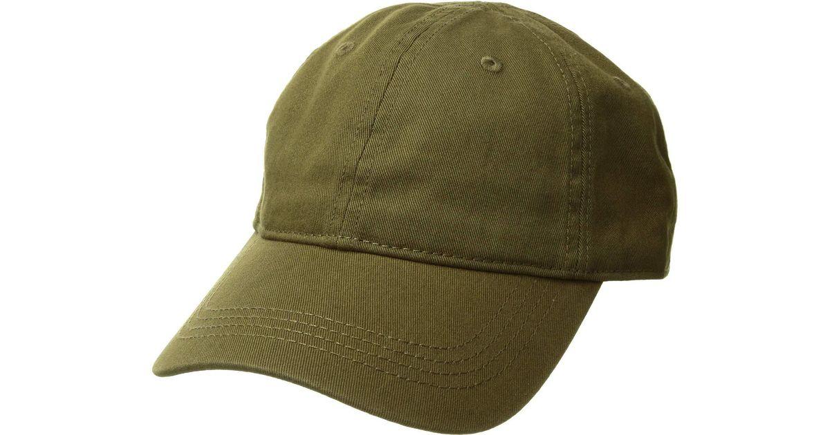 061cda9f47 Lacoste Cotton Gabardine Cap With Signature Green Croc for men