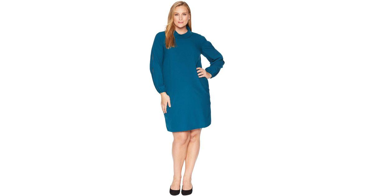 de30a224de8f0 Lyst - Tahari Plus Size Long Split Sleeve Crepe Shift With Roll Neckline in  Blue - Save 17%