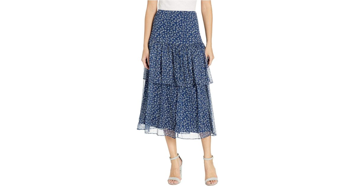 ec4d352307 Lauren by Ralph Lauren Plus Size Print Georgette Tiered Skirt in Blue -  Save 40% - Lyst