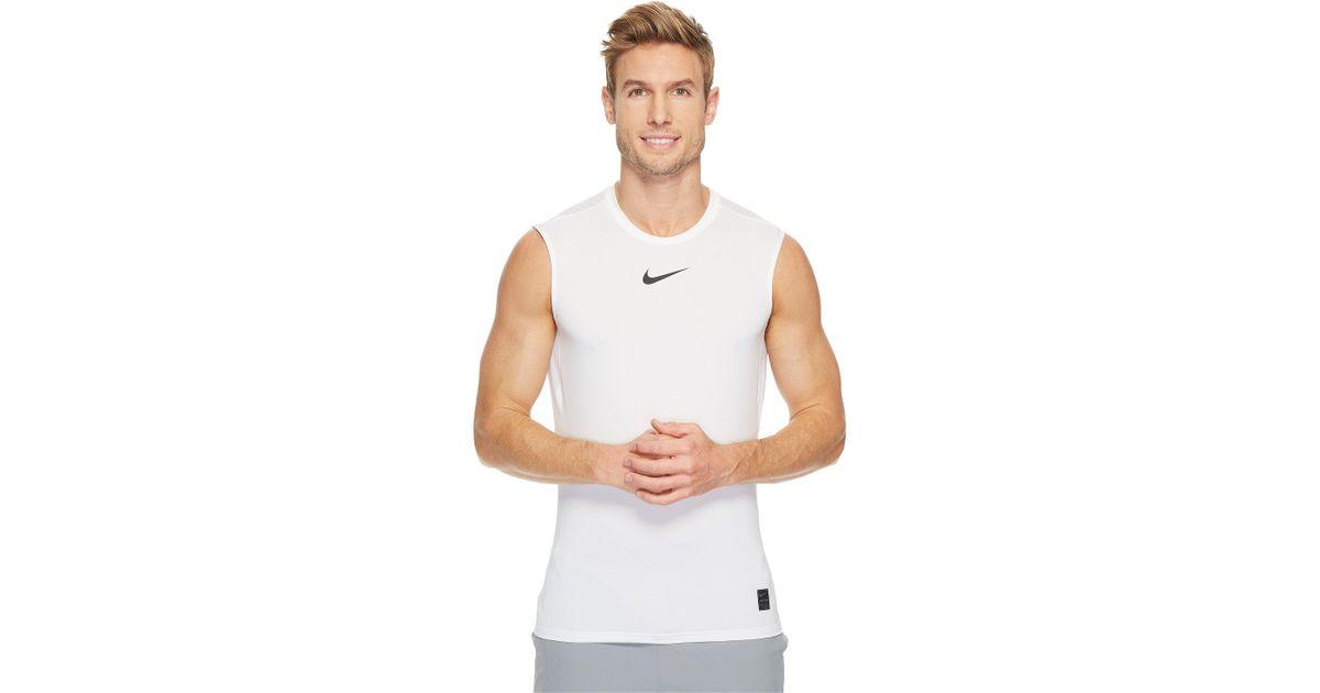 a57accfb55d52 Lyst - Nike Pro Fitted Sleeveless Training Top (white black black) Men s  Sleeveless in White for Men