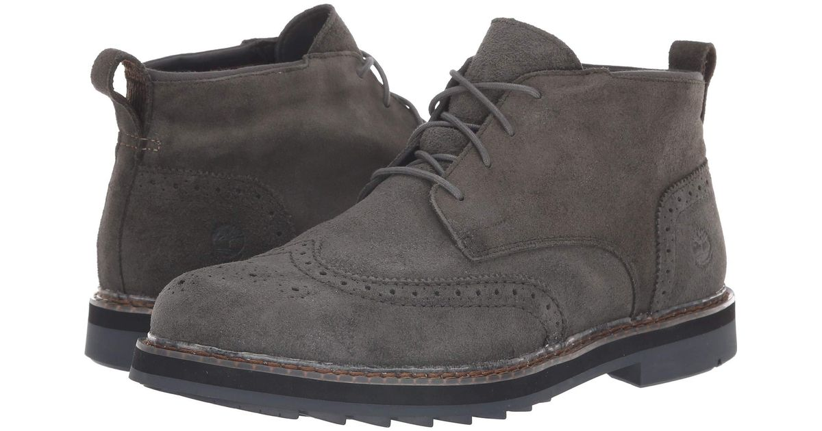 bc87b326197 Timberland Squall Canyon Wingtip Waterproof Chukka (dark Green Suede)  Lace-up Boots for men