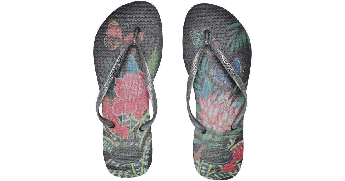8d8f9ac43579 Lyst - Havaianas Slim Tropical Flip Flops (salmon Nude) Women s Sandals in  Black