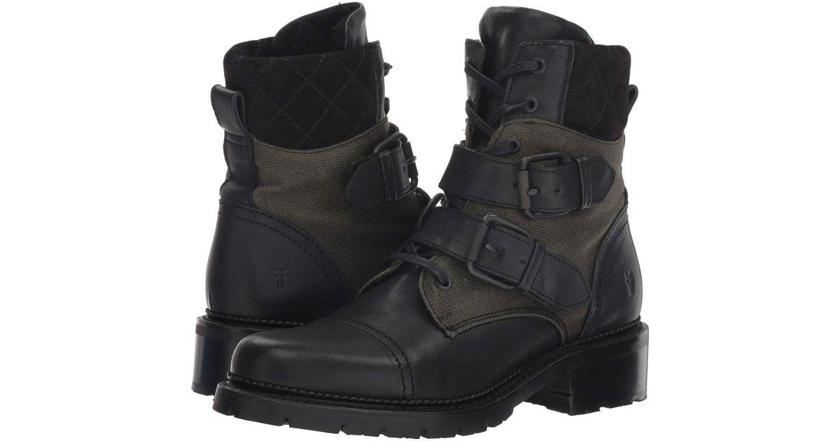 1fe37768223 Frye Samantha Belted Hiker (black Multi Tumbled Full Veg/canvas/suede)  Women's Shoes