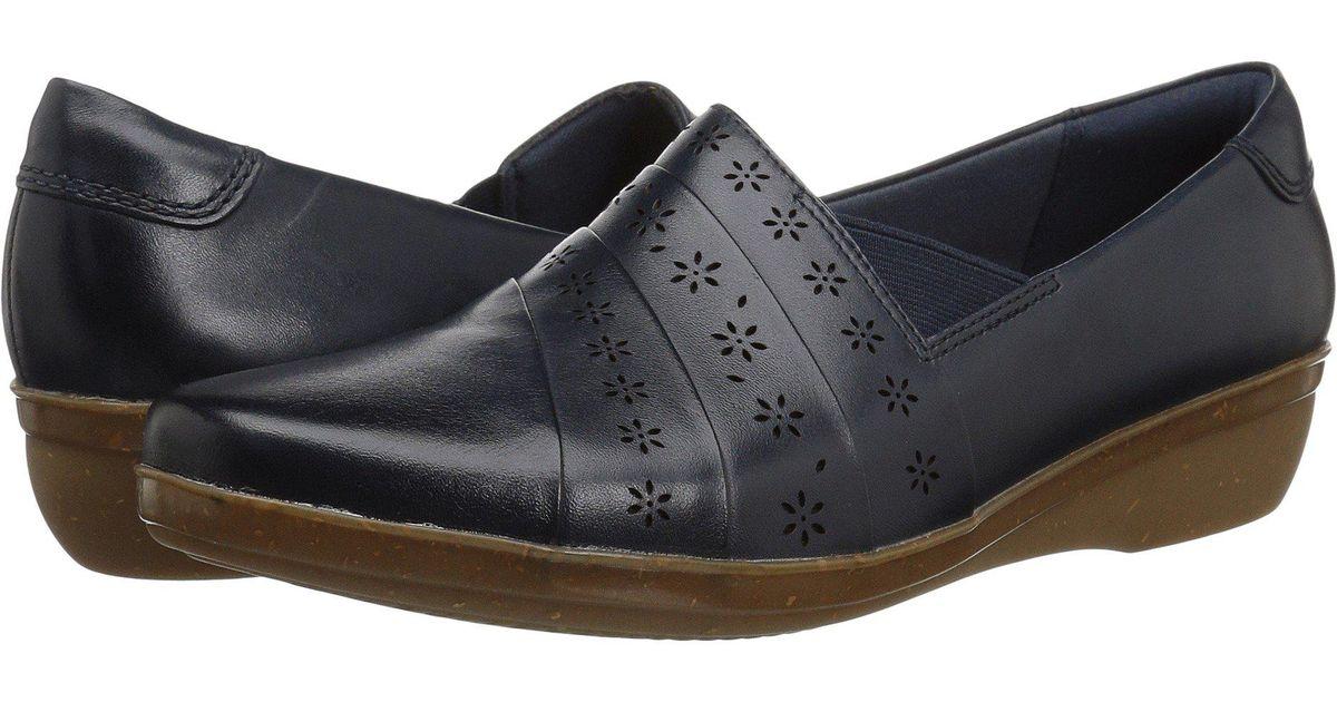 Clarks Leather Everlay Uma (navy) Shoes