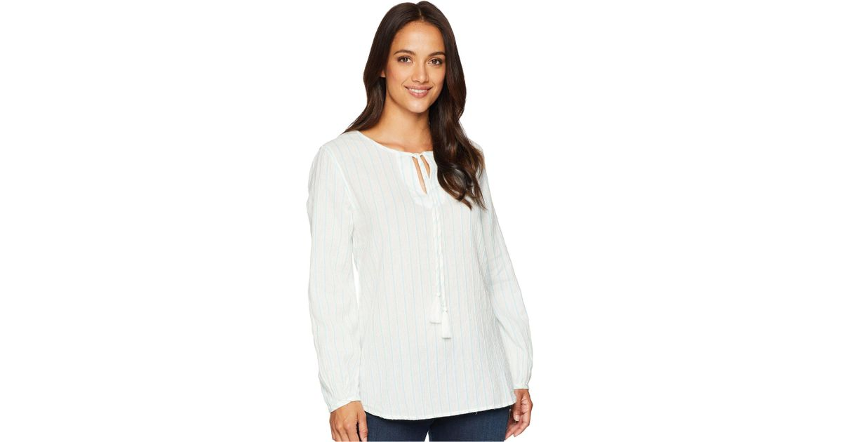 f07adb9a8fa Dylan By True Grit Soft Summer Cabana Stripe Long Sleeve Shirt With Tie  Tassel (white/sky) Long Sleeve Pullover