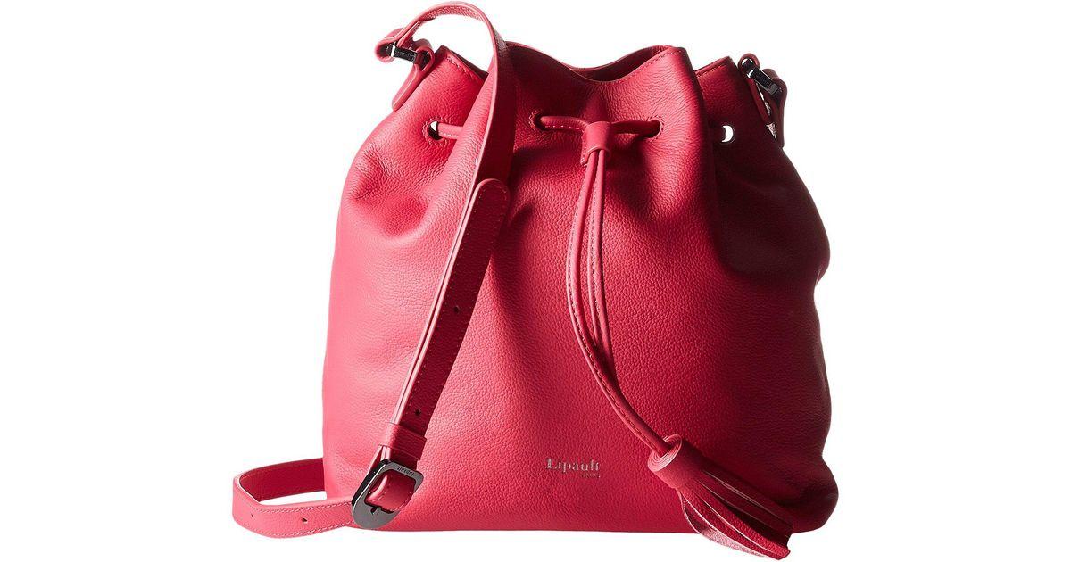f1a378084ce5 Lipault Red Plume Elegance Leather Bucket Medium Bag