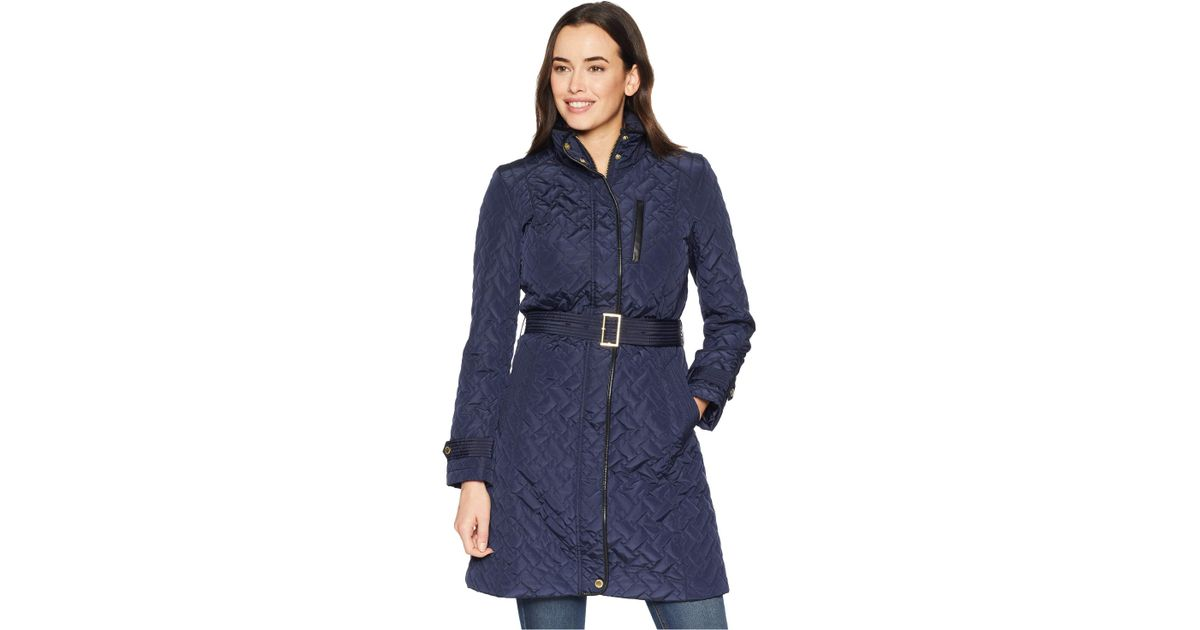 7a00e39a8 Cole Haan Blue Belted Signature Quilt Zip Front Coat With Trapunto  Stitching Details (navy) Women's Coat