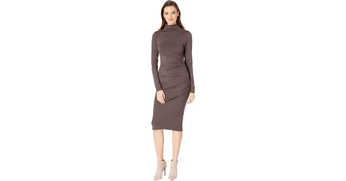 66183648af36 Lyst - Michael Stars Jules Jersey Long Sleeve Mock Neck Midi Dress - Save  0.8771929824561369%