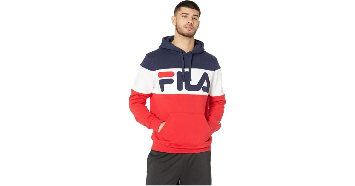 bfb8d40d44d8 Fila Flamino Fleece Hoodie (navy/chinese Red/white) Men's Clothing for Men  - Lyst