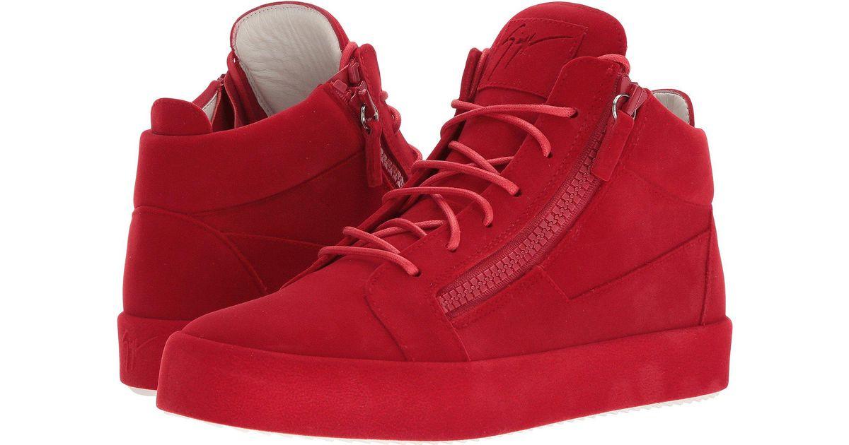 1effe477943 Lyst - Giuseppe Zanotti May London Mid Top Flocked Sneaker in Red