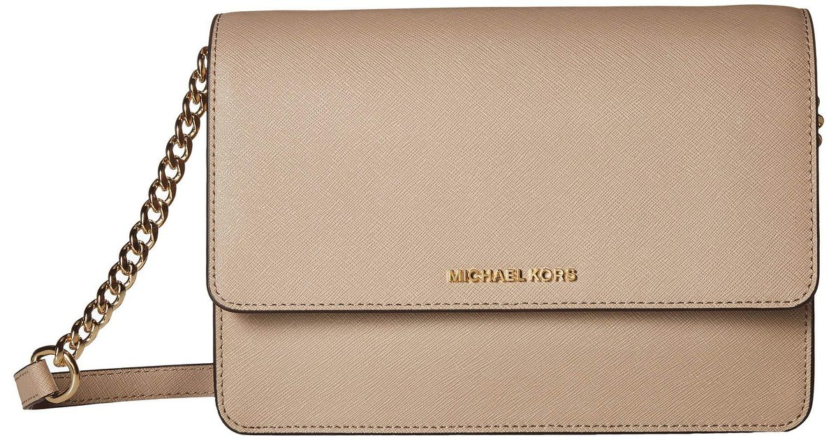 58247b361c1b MICHAEL Michael Kors Large Gusset Crossbody (pearl Grey 1) Cross Body  Handbags - Lyst