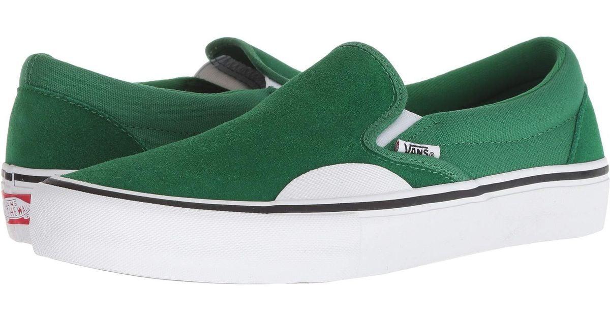8a2f7089dfe21 Vans Green Slip-on Pro (white/white) Men's Skate Shoes for men