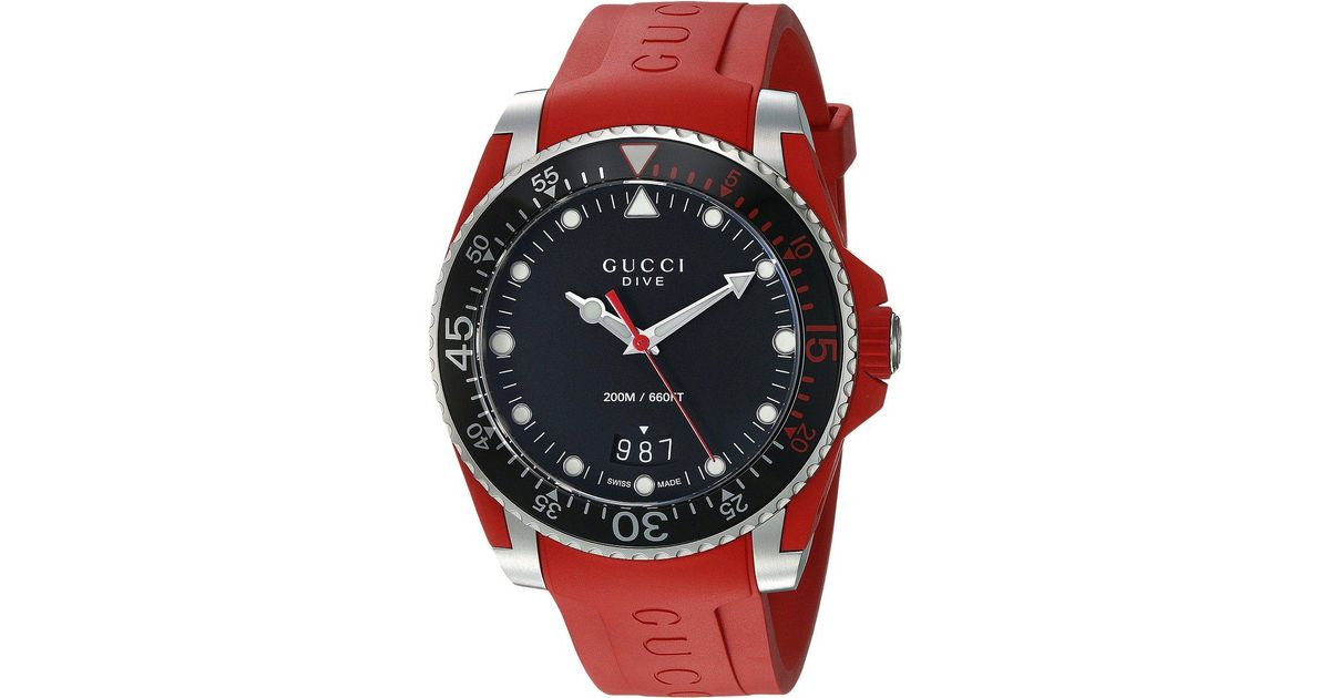 1451983bed1 Lyst - Gucci Diver - Ya136309 in Red for Men