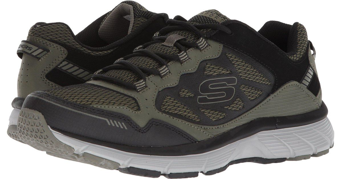 Posteridad Dibujar Inspector  Skechers Leather Bowerz in Olive/Black (Black) for Men - Lyst