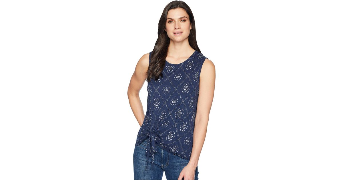8f5c2b24a068a Lyst - Lucky Brand Batik Print Tank Top in Blue - Save 10%