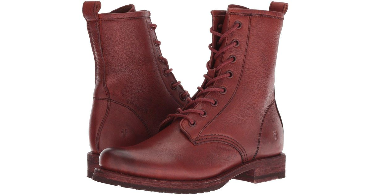 Frye Leather Veronica Combat (red Clay