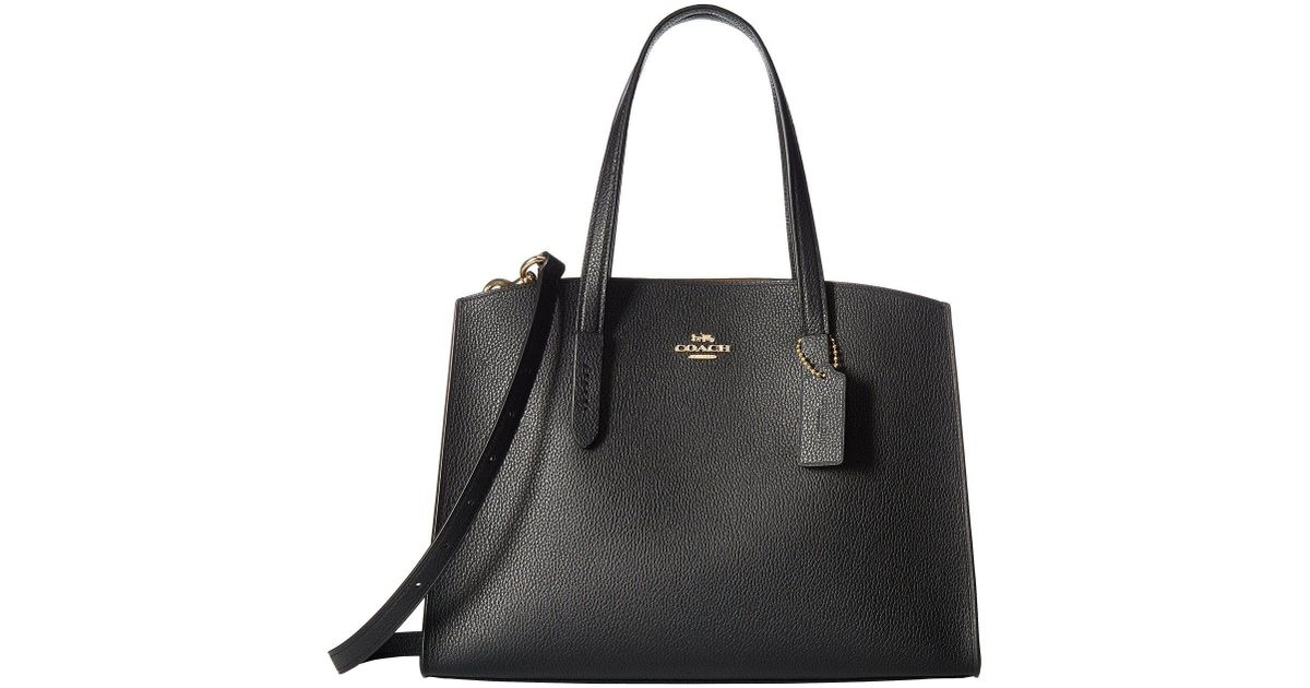 Tote - Polished Pebbled Leather Charlie 28 Carryall Black - black - Tote for ladies Coach ZBJs7UXW