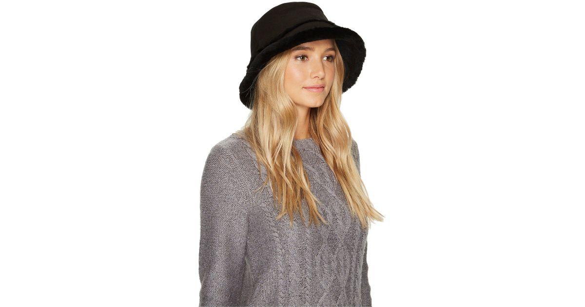 c8c6c16ca Ugg Black Waterproof Sheepskin Bucket Hat