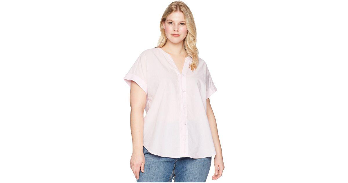 Lyst Nydj Plus Size Short Sleeve Boyfriend Shirt Thin Stripe