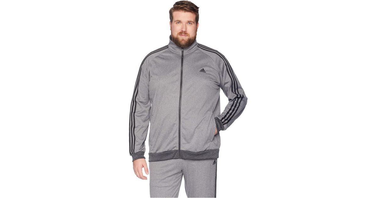 1e7f494079c03 adidas Big Tall Essentials 3-stripes Tricot Track Jacket (black/black)  Men's Workout in Gray for Men - Lyst